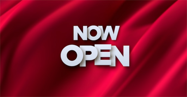 Now open white sign on red fabric background. 3d illustration. white paper letters label with wrinkled silky textile