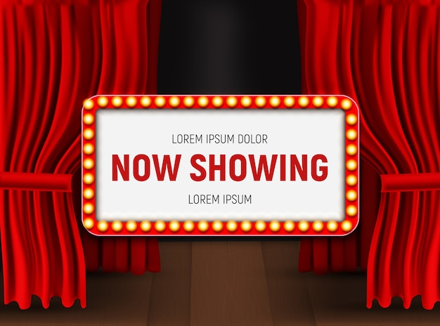 Now showing announcement board with bulb frame on curtains background.