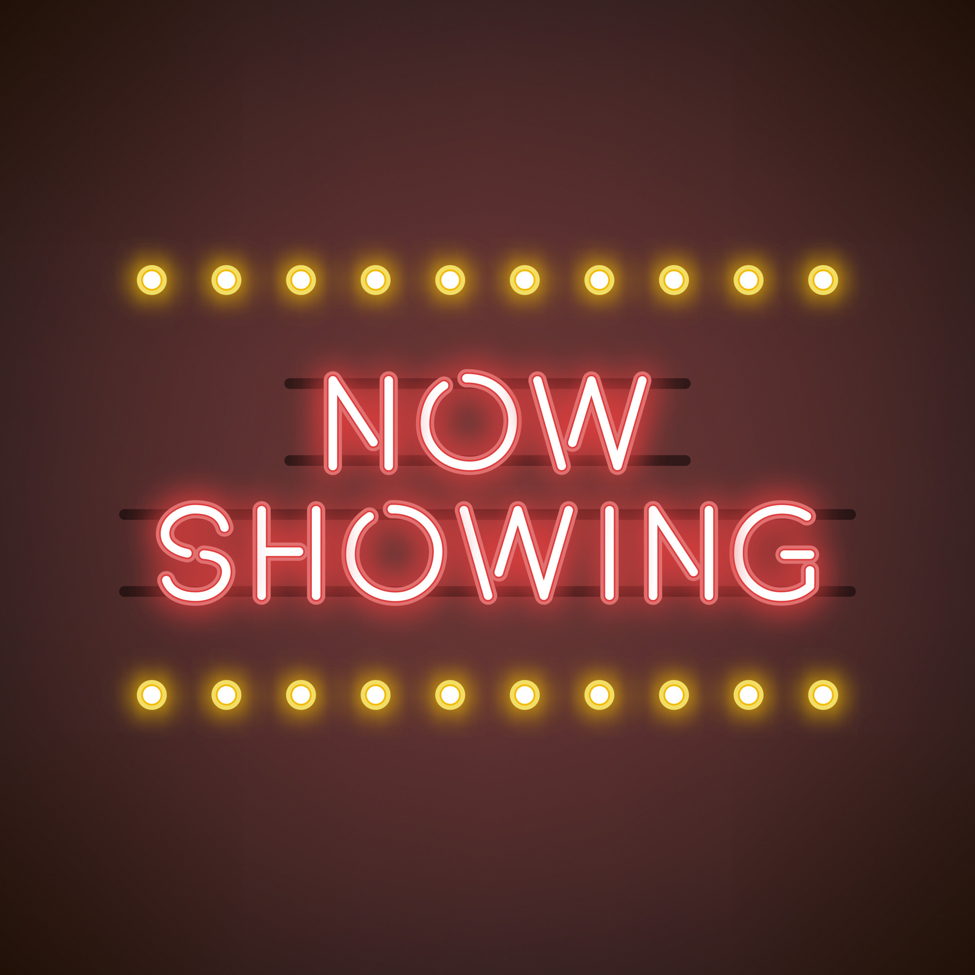 Now showing neon sign vector
