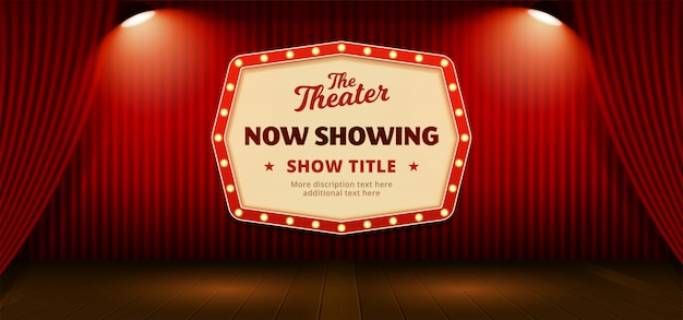 Now showing retro classic sign board with text template. red theater stage curtain backdrop