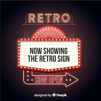 Now showing the retro sign with arrow