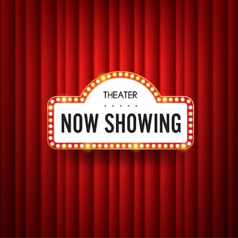 Now showing. text with electric bulbs frame on red background. .