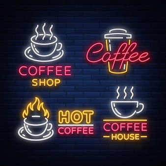 Набор кофейных элементов и аксессуаров для кофе. кофейные логотипы, эмблемы в неоновом стиле, реклама noy.