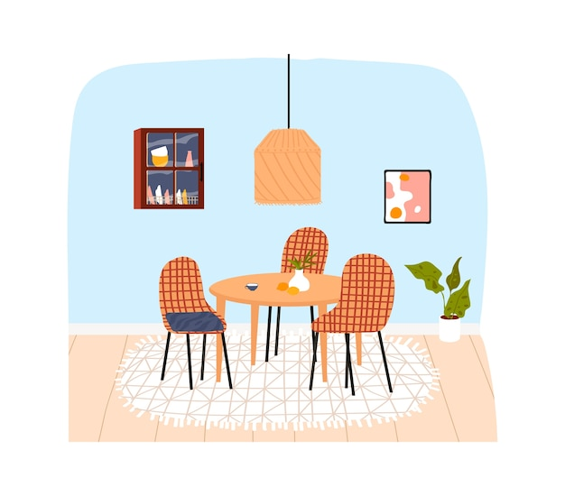 Nterior room in house, modern apartment, kitchen furniture, decoration on wall, design cartoon style illustration, isolated on white. trendy lifestyle, set chairs dining table, flowerpot in pot