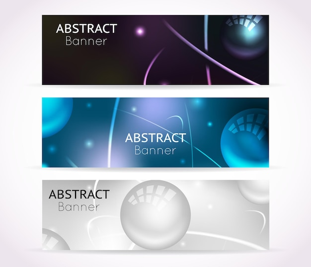 Nuclear atom banners. nanotechnologies and physical technology banner set