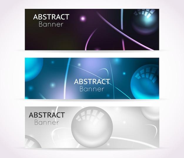 Banner di atomi nucleari. set di banner di nanotecnologie e tecnologia fisica