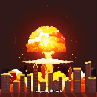 Nuclear bomb in city cartoon style
