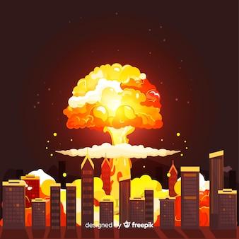 Nuclear bomb in city cartoon style