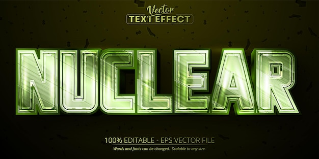 Nuclear editable text effect shiny metallic green color and chrome font style