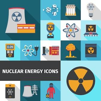 原子力エネルギーのアイコンセットフラット