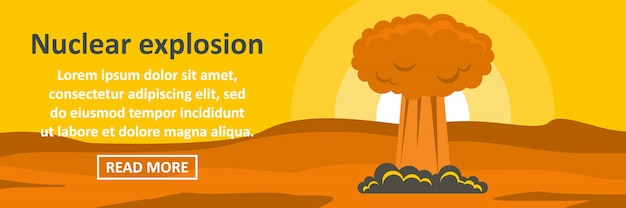 Nuclear explosion banner template horizontal concept