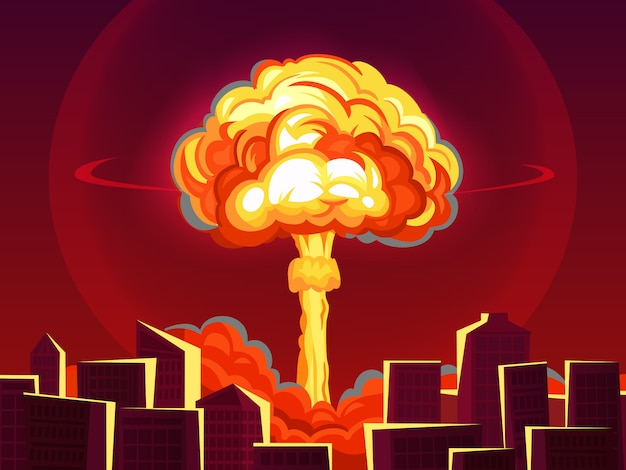 Nuclear explosion in city. atomic bombing, bomb explosion fiery mushroom cloud and war destruction cartoon  illustration