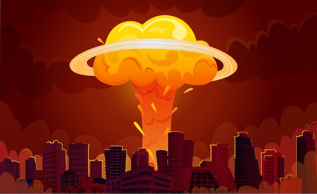 Nuclear explosion city cartoon poster