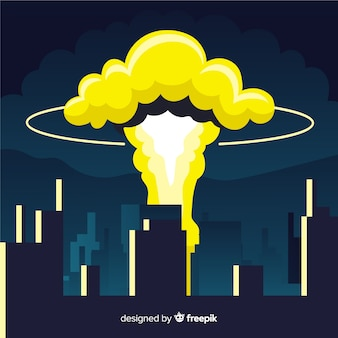 Nuclear explosion in a city cartoon style