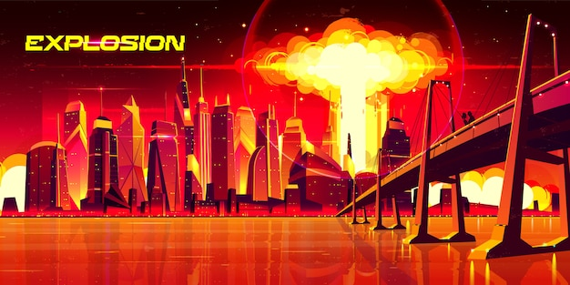 Nuclear explosion in city metropolis. couple stand on bridge watching on fiery mushroom cloud of atomic bomb detonation raising under skyscrapers buildings, end of world. cartoon illustration