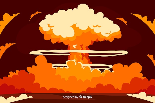 Nuclear explosion effect cartoon style