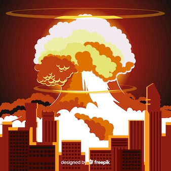 Nuclear explosion effect flat design