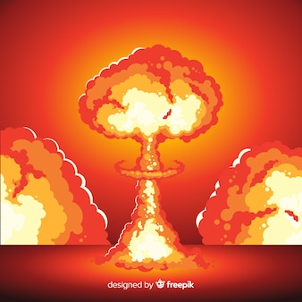 Nuclear explosion illustration cartoon style
