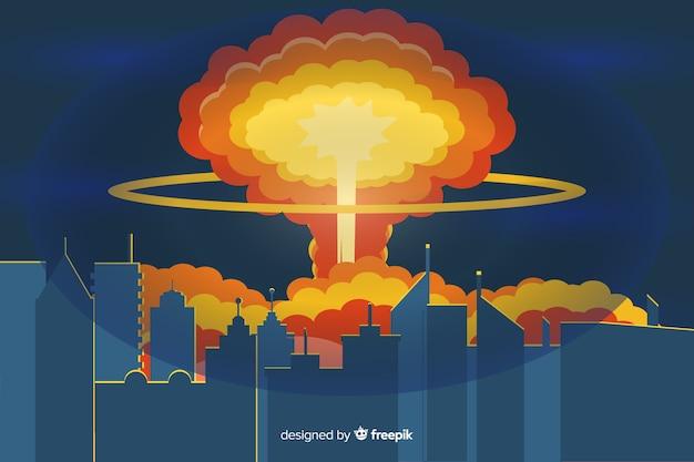 Nuclear explosion illustration cartoon style