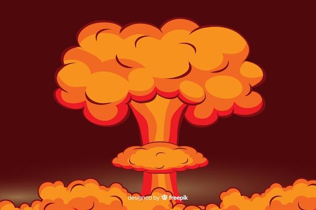 핵 폭발 그림 만화 스타일