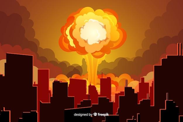 Ядерный взрыв в мультяшном стиле города Premium векторы
