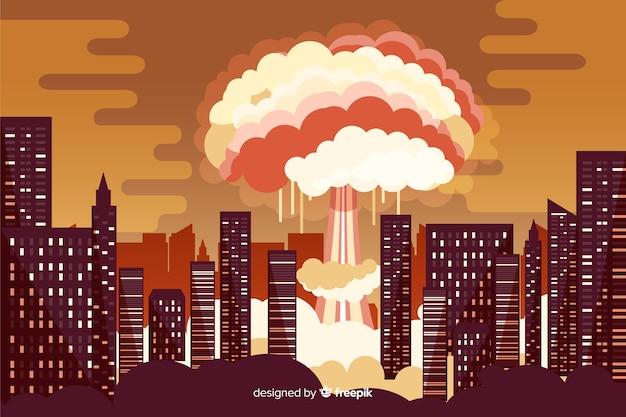 Ядерный взрыв в мультяшном стиле города