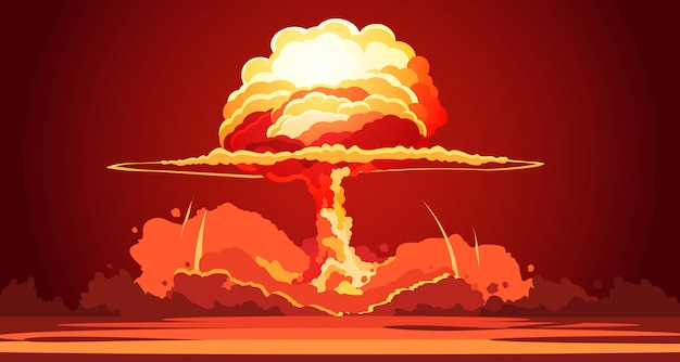 Nuclear explosion rising orange fireball of atomic mushroom cloud in desert weapon