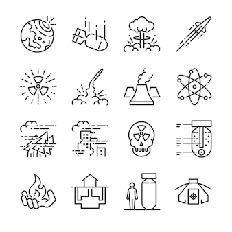 Nuclear line icon set.
