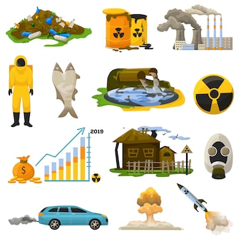 Nuclear pollution vector radioactive atomic energy polluting environment illustration