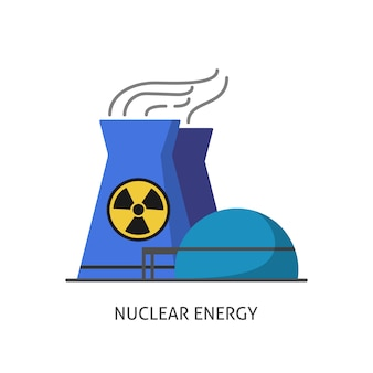 Nuclear power plant icon in flat style