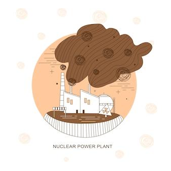 Атомная электростанция в стиле тонкой линии