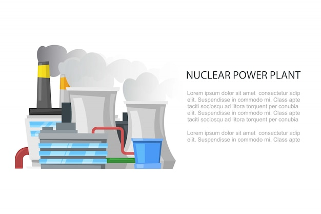 Атомная электростанция, промышленные ткани невозобновляемые источники энергии мультфильм баннер шаблон