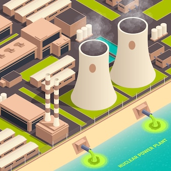 Nuclear power plant isometric illustration