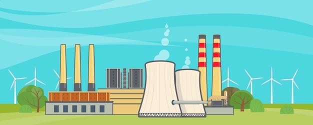 Атомная электростанция. векторная иллюстрация в плоском стиле