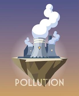Nuclear reactor over terrain, environmental pollution