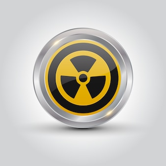 Nuclear sign button on white background