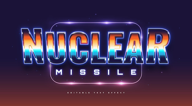 Nuclear text in colorful retro style and neon effect. editable text style effect