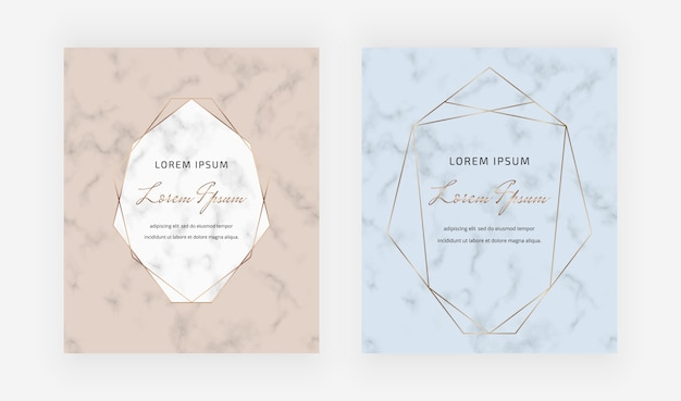 Nude and blue marble geometric cards with golden polygonal lines frames.