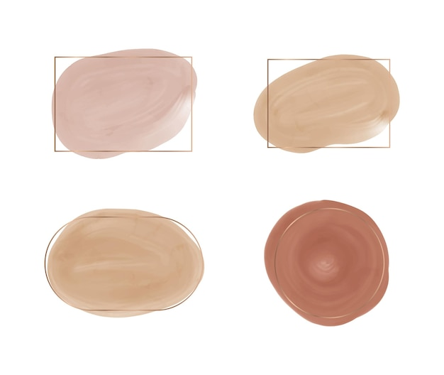 Nude and brown watercolor shapes with geometric golden lines frames
