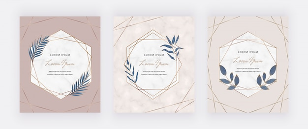 Nude cards with geometric marble frames and blue leaves.