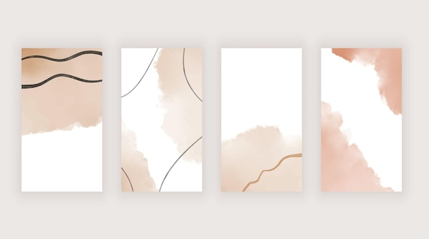 Nude hand drawing boho stories modern template for social media