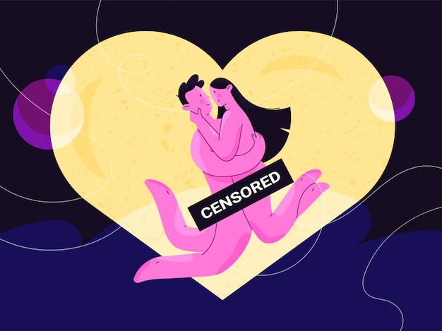 Nude man and woman hugging happily in front of lighting heart with censored sign. couple of newlyweds in their honeymoon. harmony in love and sex relationship. comfort and confidence.