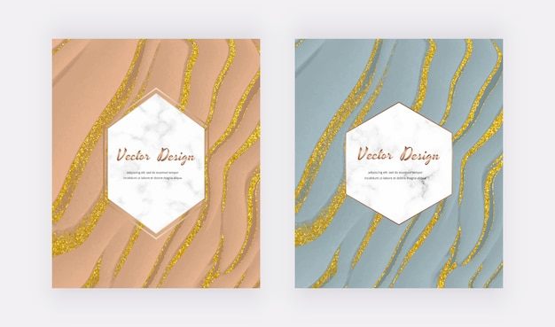 Nude and pastel blue liquid ink with golden glitter design cards with geometric white marble frames.