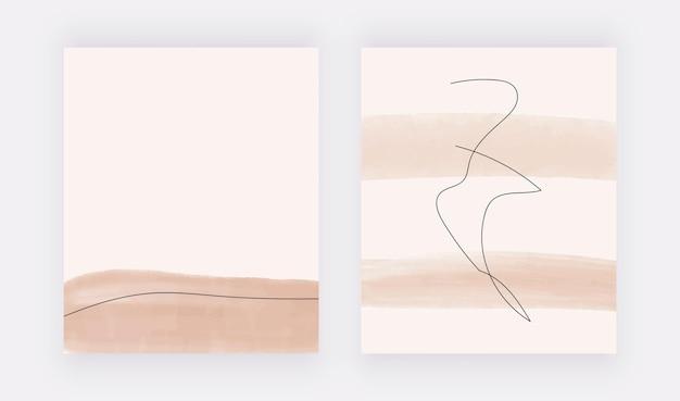 黒い線の背景を持つヌード水彩ブラシストローク形状。モダンウォールアートプリント