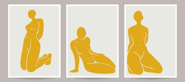 Обнаженные женщины творческие иллюстрации векторных принтов современного искусства
