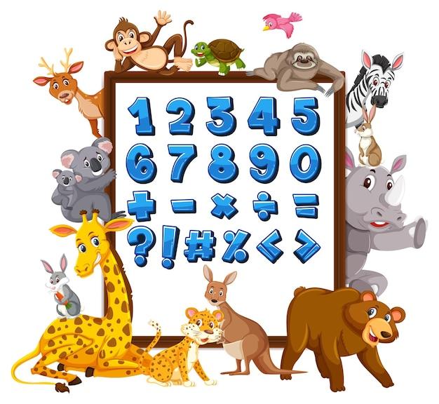 야생 동물과 함께 배너에 0에서 9까지의 숫자와 수학 기호
