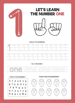 Number 1 worksheet template