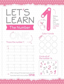 Number 1 worksheet with circle