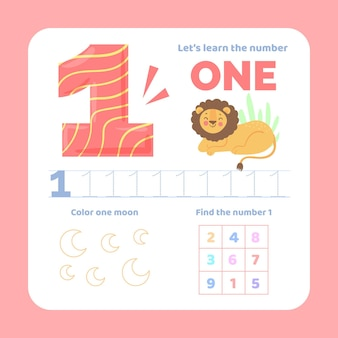 Number 1 worksheet with lion