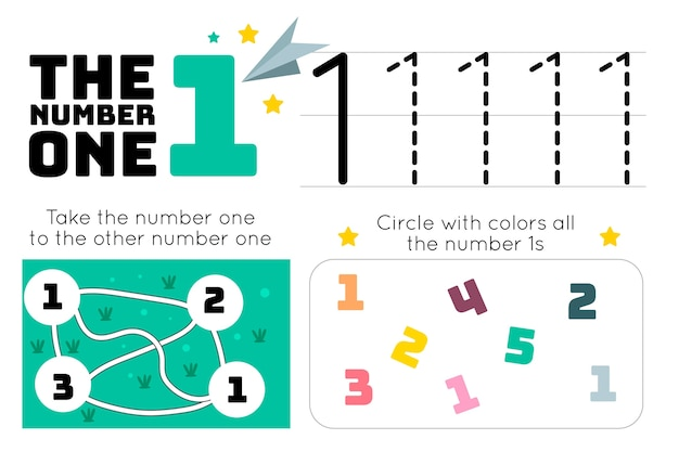 Number 1 worksheet with maze